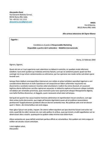 modello di lettera di presentazione per un lavoro