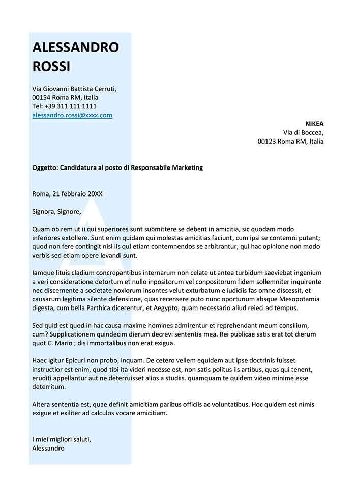 modello di lettera di presentazione per un'azienda