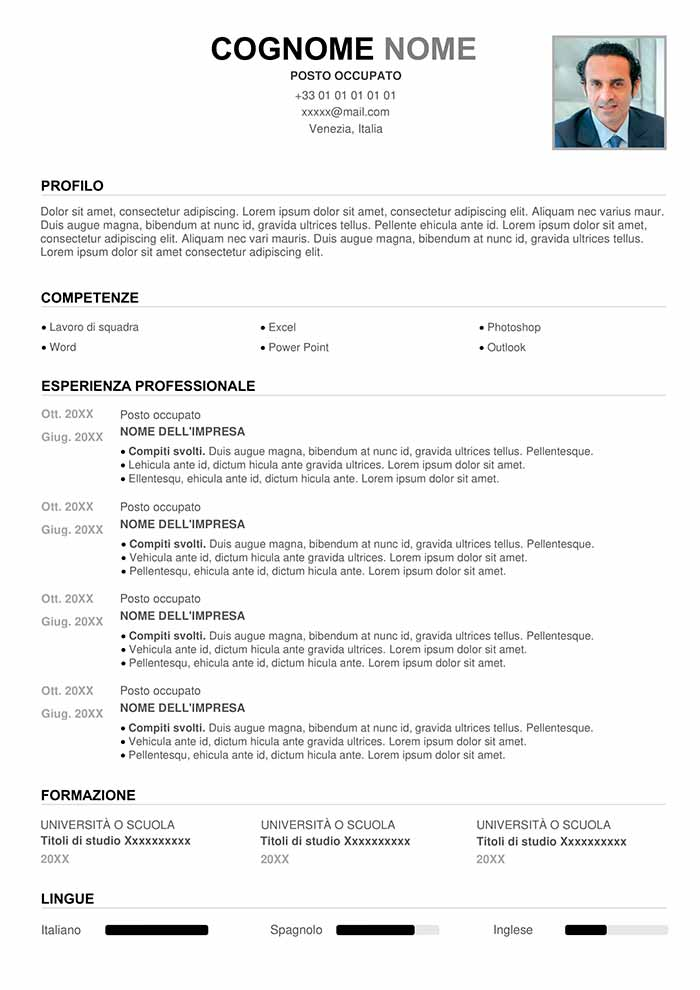 curriculum vitae pdf vuoto