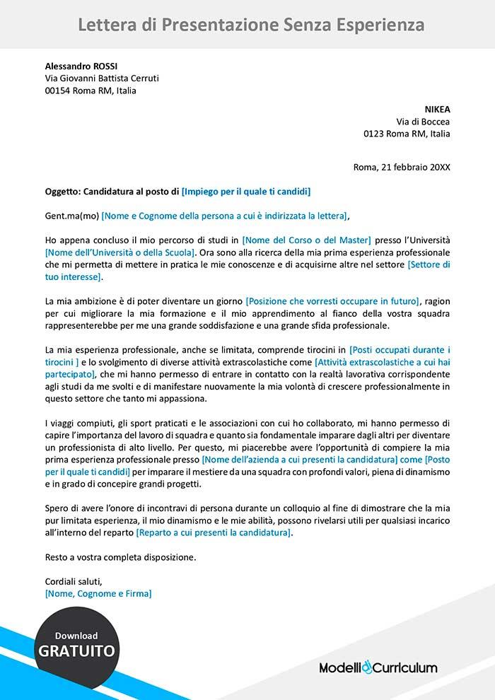 lettera di presentazione senza esperienza